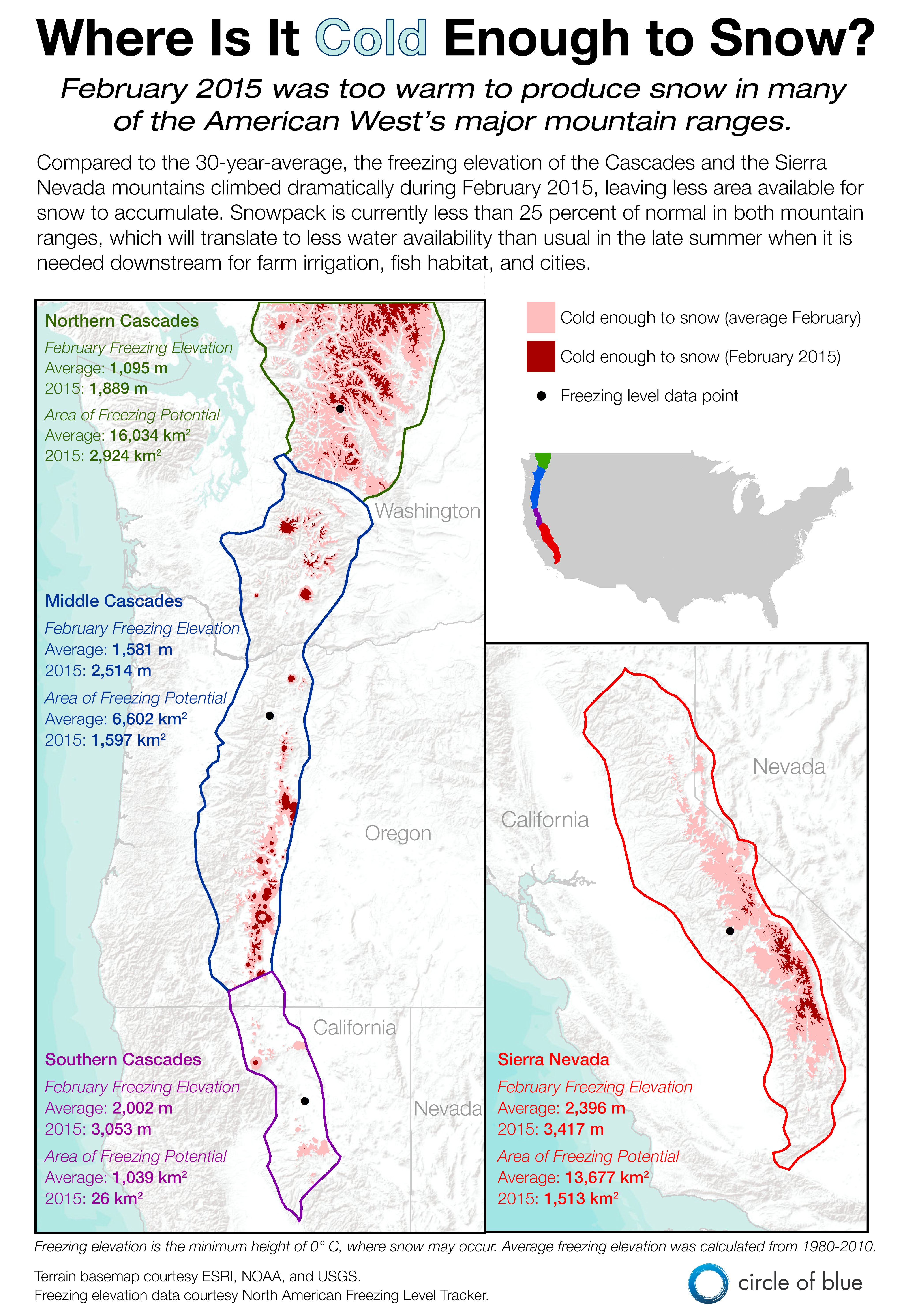 Northern California Map Of Mountain Ranges.Infographic Too Warm To Snow In California Oregon And Washington