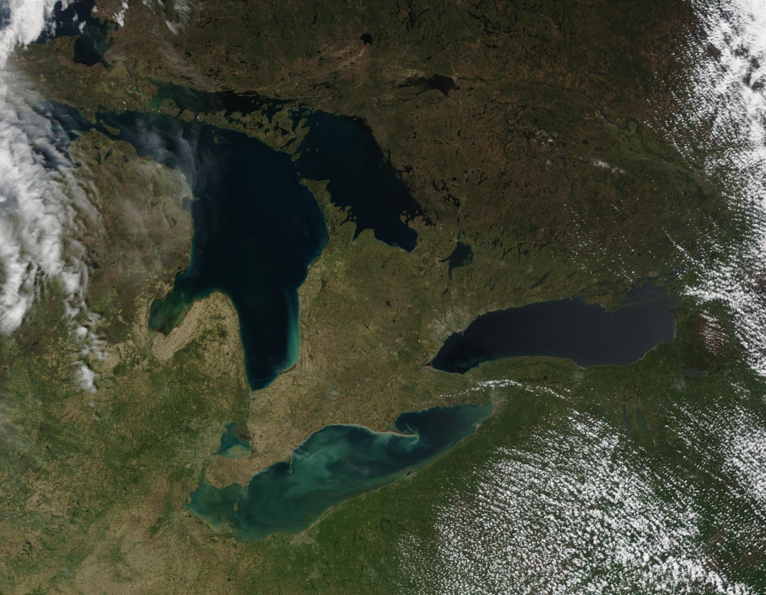 The nine aquaculture facilities in the Ontario waters of Lake Huron are the only fish farms operating in the Great Lakes. Photo courtesy MODIS / NOAA Great Lakes Environmental Research Laboratory via Flickr Creative Commons