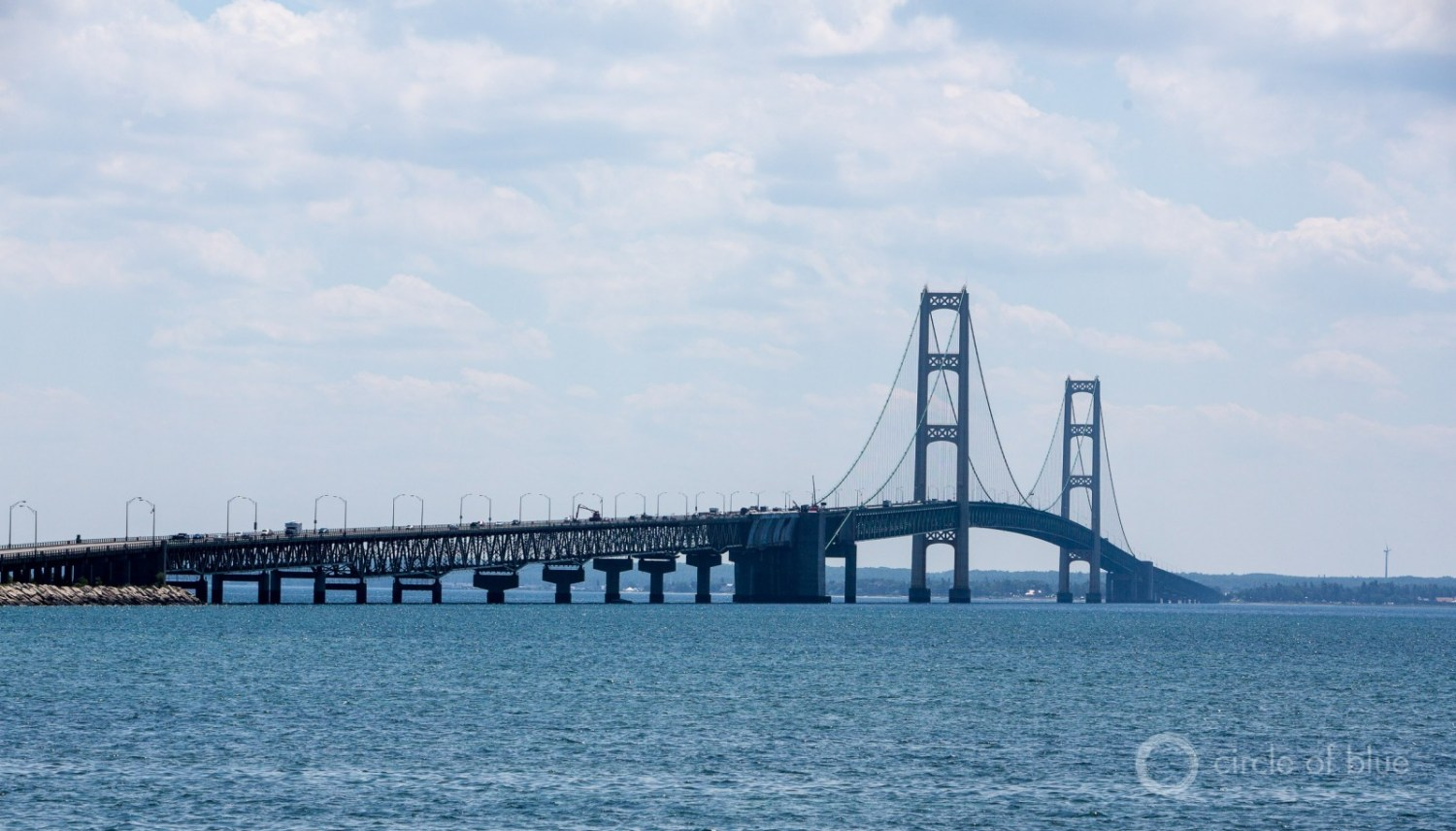 "The ""Pure Michigan"" brand has been damaged in recent years by a big inland oil spill, lead-poisoned drinking water in Flint, and a 63-year-old oil pipeline under the Straits of Mackinac. It is unclear if aquaculture will be allowed in the state's Great Lakes waters. Photo © J. Carl Ganter / Circle of Blue"