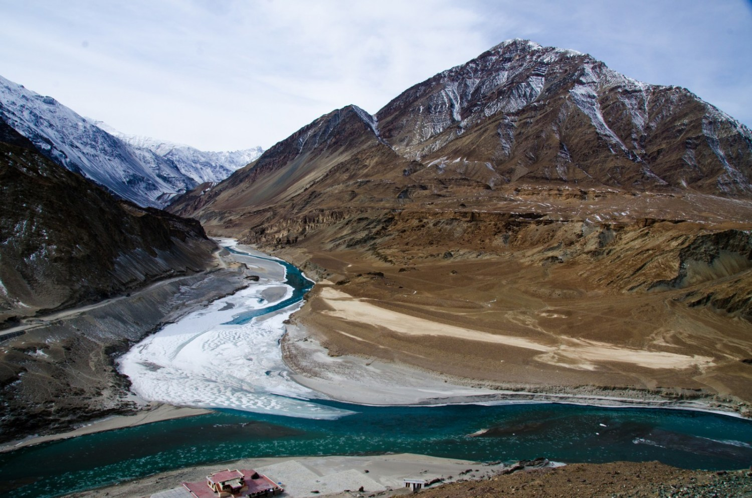 The Zanskar River joins the Indus River near Leh in Jammu and Kashmir. Though the Indus flows through India before reaching Pakistan, the 1960 Indus Water Treaty allocates the basin's three eastern rivers to India and its three western rivers to Pakistan. Photo courtesy Pradeep Kumbhashi via Flickr Creative Commons