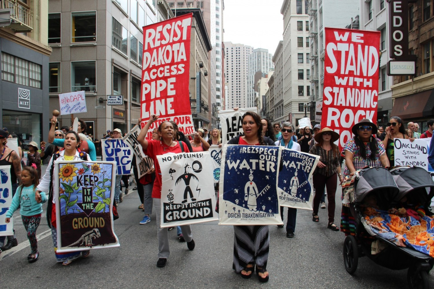 Protesters marched in San Francisco last week against the Dakota Access pipeline to show support for the Standing Rock Sioux. The pipeline is under construction near the tribe's land in North Dakota. Photo courtesy Peg Hunter via Flickr Creative Commons.