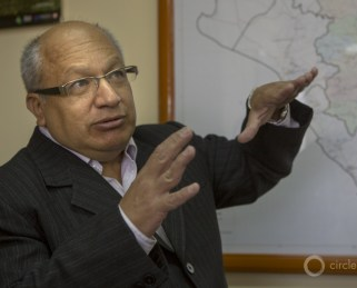"""Cesar Aliaga Diaz, who briefly served as the regional president and now directs the Cajamarca regional government's Social Development Division: """"The places that supply our water are in those mountains where the mines are. Our regional government passed a law that says these places must be protected. Our national government says we have no local control. We have different points of view, but the Andes people support us."""""""