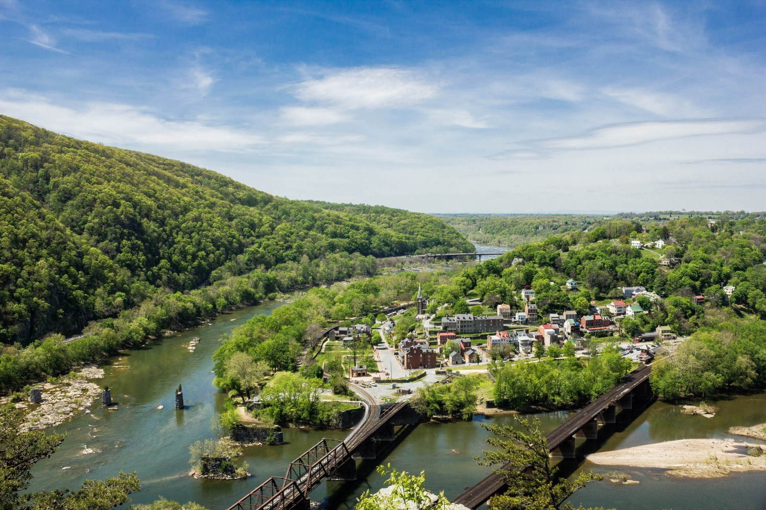 The Shenandoah River, left, joins the Potomac at Harpers Ferry, West Virginia. Maryland's control over the Potomac is the source of potential legal action by West Virginia.
