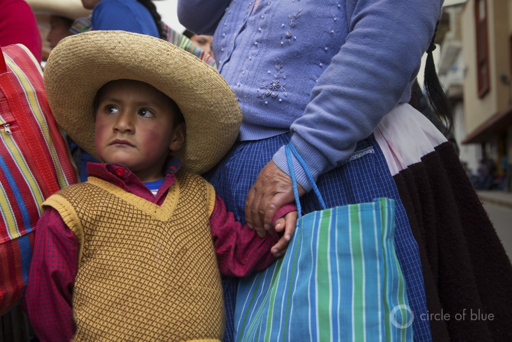 Andes highland farmers and their children marched in the streets of Cajamarca in opposition to the Conga gold mine.
