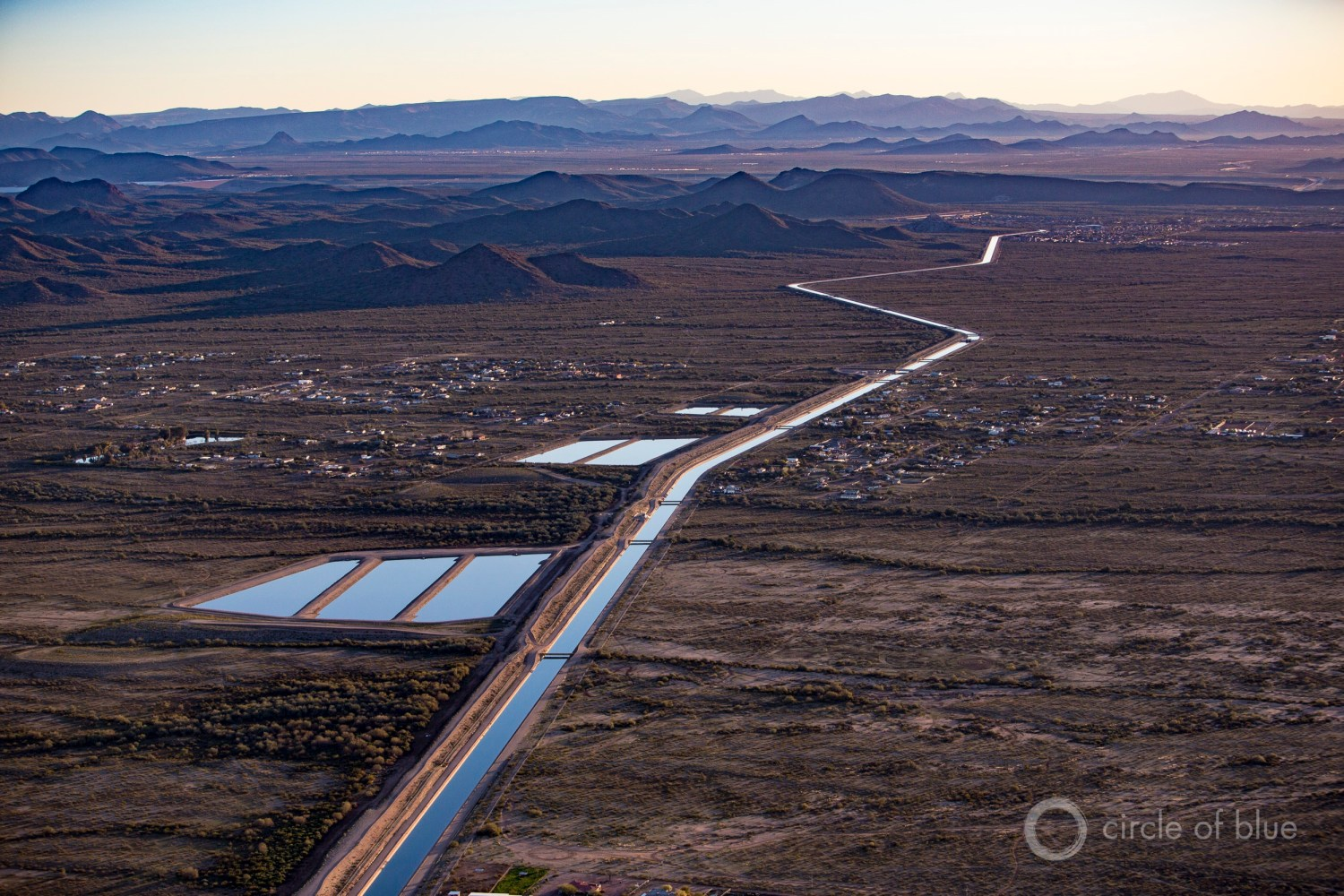 The Central Arizona Project canal snakes 336 miles across the desert to deliver water to three counties in the heart of the state. Photo © J. Carl Ganter / Circle of Blue