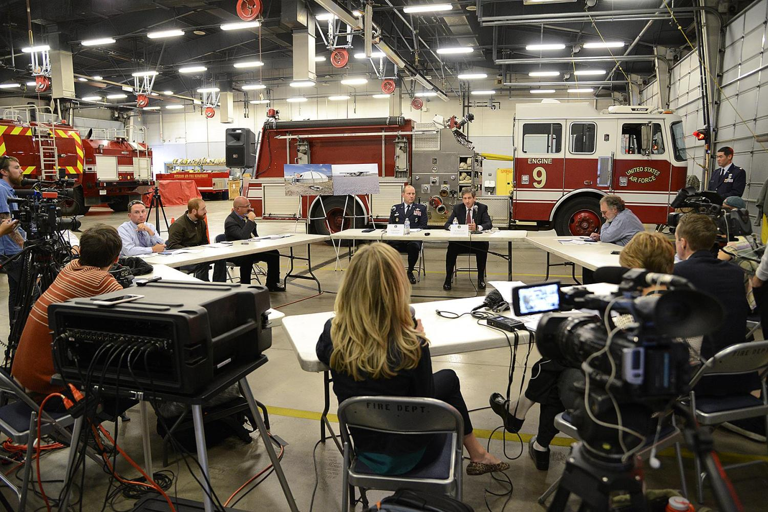 Air Force officials answer questions from local media at Fire Station One during a roundtable at Peterson Air Force Base, Colorado, on November 2, 2016. The officials were visiting Peterson AFB to discuss perfluorinated compound contamination in the aquifer that Fountain, Security, and Widefield use for drinking water. Photo by U.S. Air Force / Rob Bussard