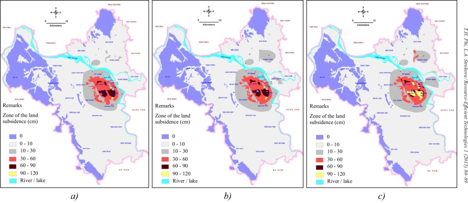 Prediction maps of the land subsidence in the Hanoi city caused by groundwater extraction in (a) 2013; (b) 2020; (c) 2030