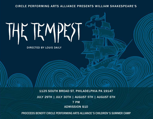 Full details of the Tempest play at Circle of Hope