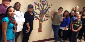 Mural painting at H.A. Brown elementary school