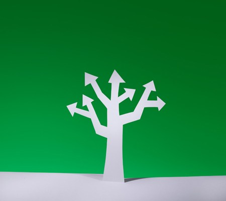 Growth, tree shape with arrows