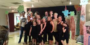 Children's theater camp teachers and students