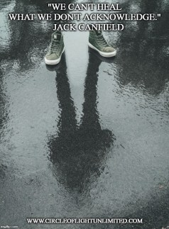 Image of empty sneakers on wet asphalt with the reflection of a person in a shallow puddle