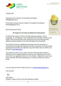 Canberra City Farm Signatory Letter