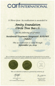 Circle Tree Ranch CARF 3 Year Award is the highest that can be given any organization meeting or exceeding international standards.