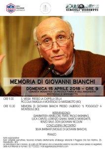 Locandina Monte Sole 15 aprile 2018 - Memoria Giovanni Bianchi