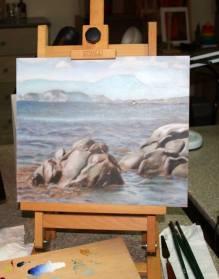 Barbara Medda - paesaggio marino - olio su cartone telato