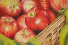 Gabriela Espa - cesto di mele, olio su pannello telato cm 30x40