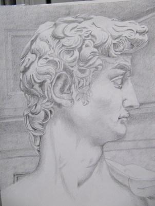 Clara: studio di profilo del David di Michelangelo, matita su carta da disegno. Gennaio 2012