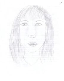 Evelina: disegno di faccia alla prima lezione, luglio 2010