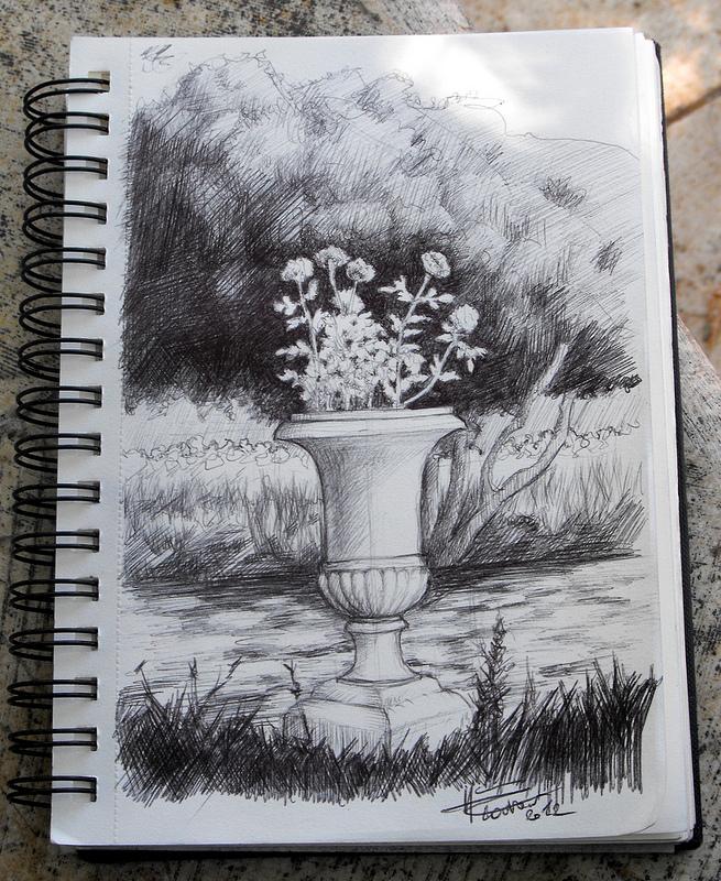 fiori al parco - bic nera su molenskine