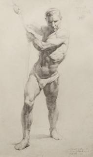 Academic male figure drawing, 1954.