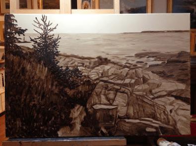 Una sottopittura ad acrilico in terra d'ombra realizzata da Jan Blencowe