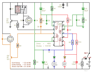 How to build TwoZone Burglar Alarm  circuit diagram