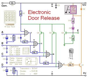 How to build Electronic Door Release  circuit diagram
