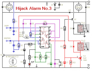 How to build Vehicle AntiHijack Alarm No3  circuit diagram