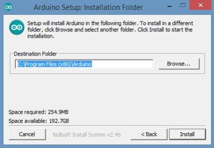 Arduino Setup Installation Folder