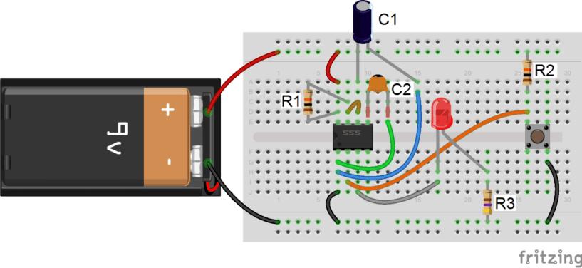 555 Timer Monostable - One-Shot Pulse Circuit Diagram