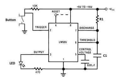 555 Timer Monostable Mode Circuit