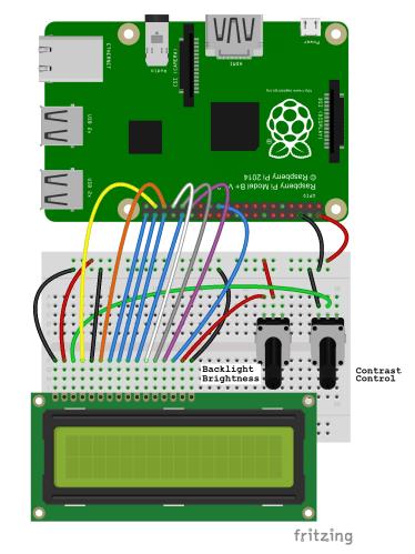 Raspberry Pi LCD 8 Bit Mode Connection Diagram