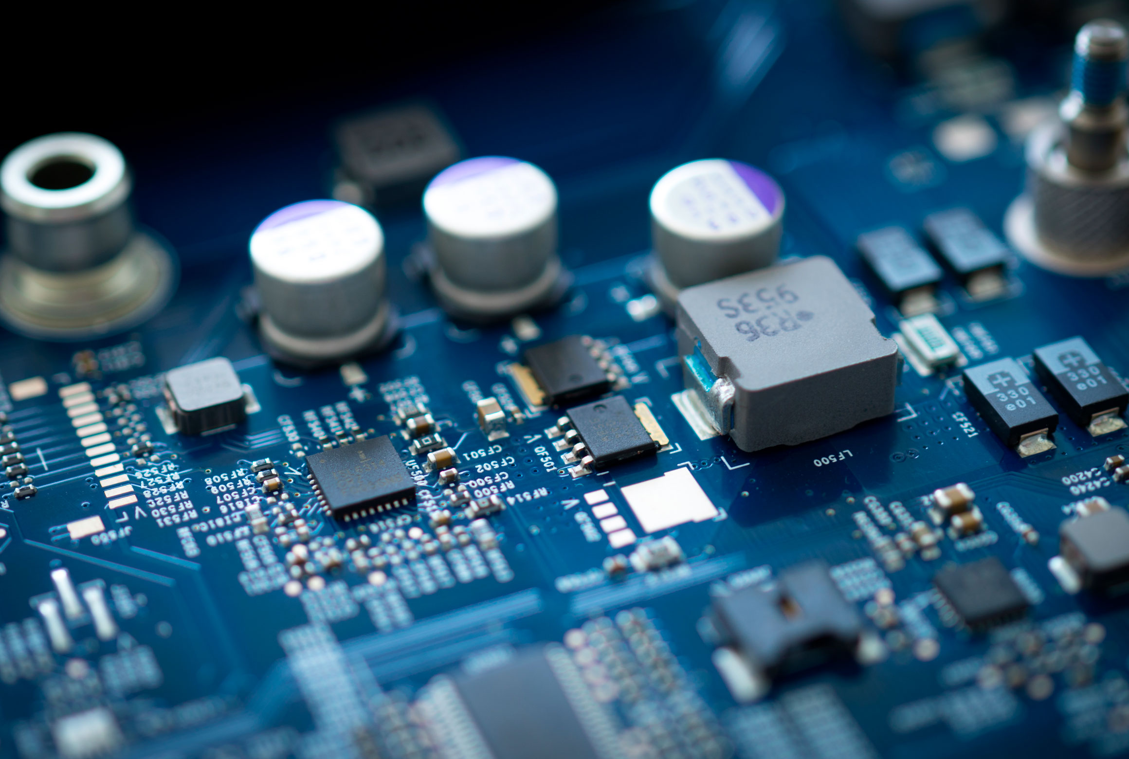 circuitboard with components soldered in place