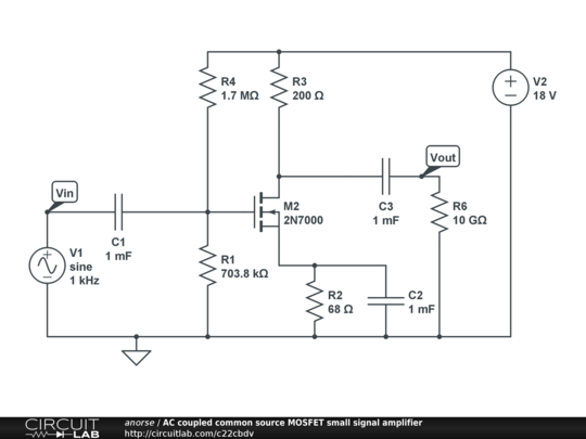 AC Coupled Common Source MOSFET Small Signal Amplifier
