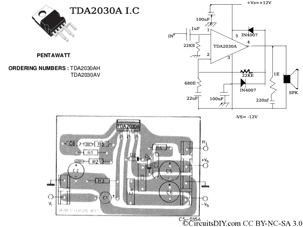 Tda A Amplifier Circuit Used In Home Theaters Circuits Diy