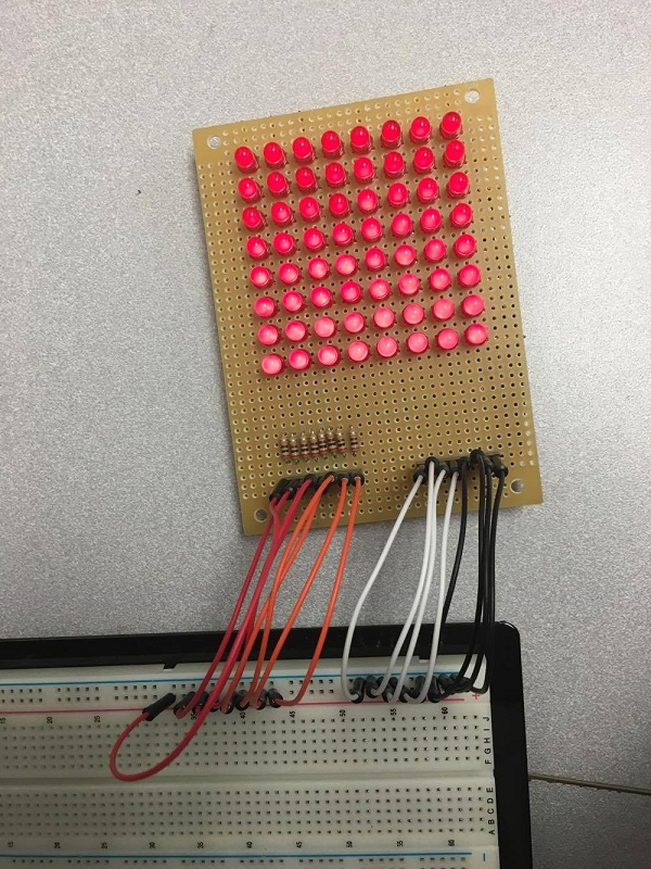 8x8 LED Matrix Powered ON