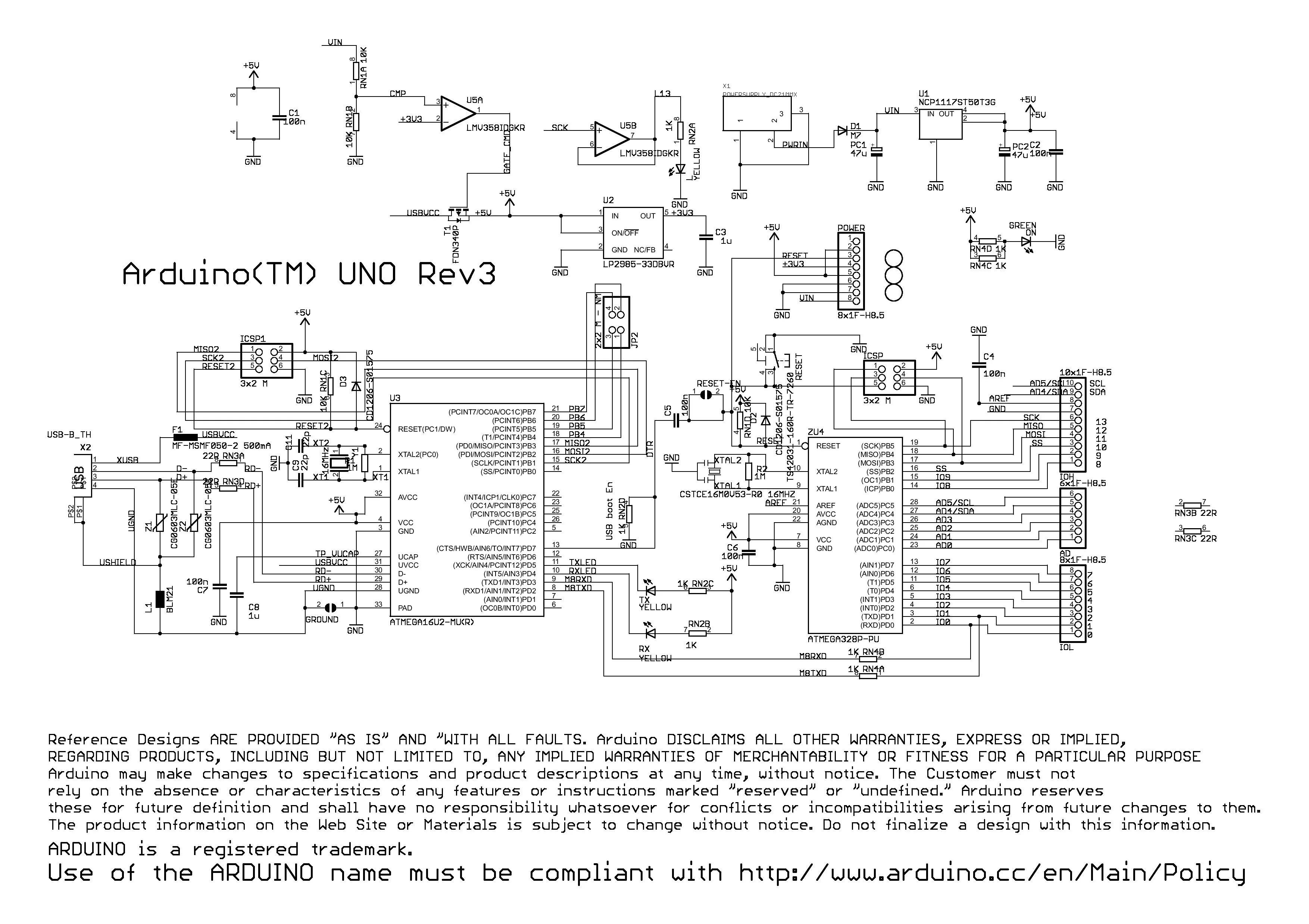Arduino UNO Rev3 Schematic  Source: Arduinocc | Simply