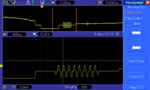"""Another example of the """"ZOOM"""" feature showing the color burst signal on the backporch of the Horizontal sync pulse."""