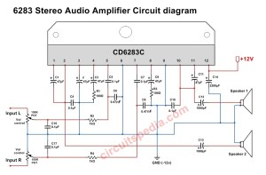 A6283CD6283 Stereo Audio Amplifier Circuit Diagram, 6283