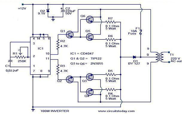 100 watt invertercircuit diagram parts list  design tips