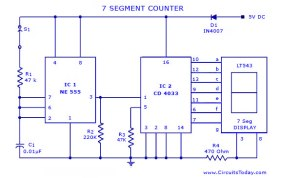 Seven7Segment Counter Circuit with LED DisplayDiagram