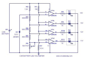 Voltmeter Circuit with Diagram and Schematics for Car Battery