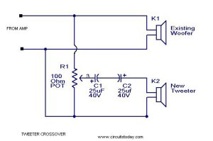 Tweeter Crossover Circuit with Diagram to Filter Low Frequency