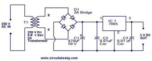 5V power supply using 7805 IC with circuit diagram