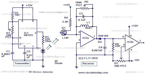 Infrared Motion Detector Circuit 171 Indianengineer