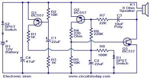 Electronic siren circuit  Electronic Circuits and
