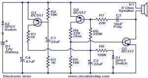 Electronic siren circuit  Electronic Circuits and