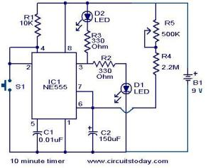 10 Minute timer circuit  Electronic Circuits and