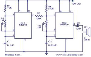Musical horn circuit  Electronic Circuits and Diagrams